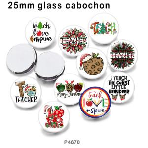 さまざまなサイズの10個/ロットの教師用ガラス画像印刷製品冷蔵庫用マグネットカボション