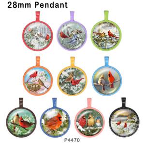 さまざまなサイズの10個/ロットの鳥ガラス画像印刷製品冷蔵庫用マグネットカボション
