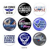 Botones a presión de vidrio con estampado Air Force MOM de 20 mm