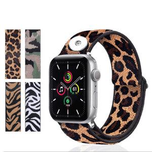 Anwendbare Druckknöpfe 42 / 44MM Apple Watch Band 123456 Generation SE Universal Apple Nylon Geflochtenes elastisches Uhrenarmband Integriertes iwatch Uhrenarmband für 18-mm-Stücke