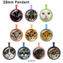 10pcs / lot produits d'impression d'image de verre de chat de différentes tailles cabochon d'aimant de réfrigérateur