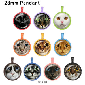 さまざまなサイズの10個/ロットの猫用ガラス画像印刷製品冷蔵庫用マグネットカボション