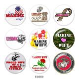 20MM米国海兵隊プリントガラススナップボタン