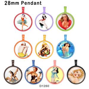 10 Stück / Los Lady Glas Bilddruckprodukte in verschiedenen Größen Kühlschrank Magnet Cabochon