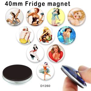 さまざまなサイズの10個/ロットの女性用ガラス画像印刷製品冷蔵庫用マグネットカボション