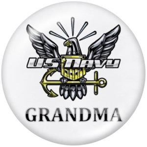 20MM USA Army NavyPrintガラススナップボタン