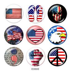 20MM  USA  Flag  Print  glass  snaps buttons