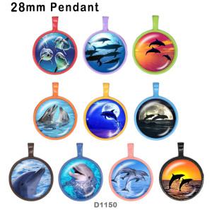 10個/ロットさまざまなサイズの海洋生物ガラス画像印刷製品冷蔵庫用マグネットカボション