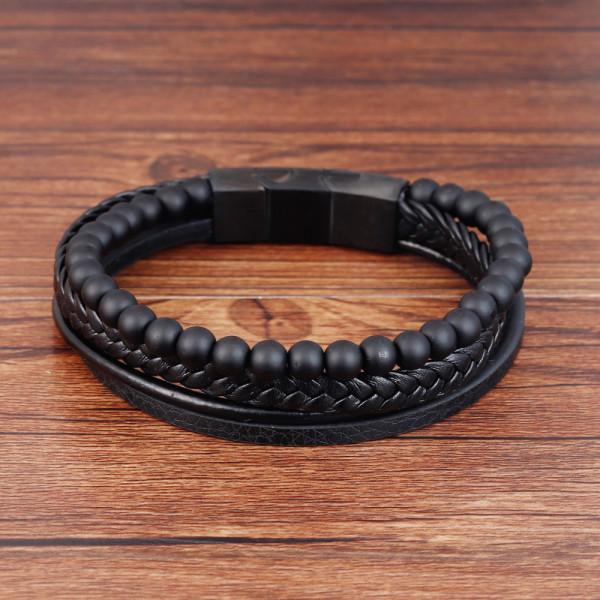 Bracelet en cuir de pierre volcanique en pierre naturelle 21CM Bracelet en cuir tressé en acier inoxydable