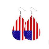 独立記念日の革のイヤリング