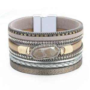 Pulsera multicapa bohemia, cadena, diamante, cristal, accesorios, pulsera de cuero