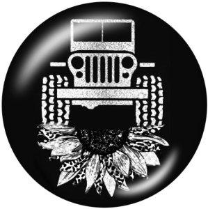 Botones a presión de cristal con estampado de coche Jeep de 20 mm