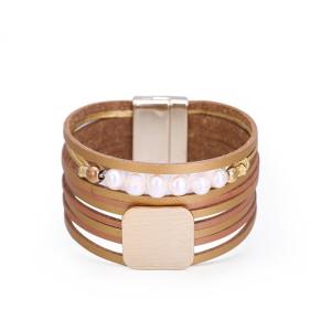 Pulsera de perlas a juego de doble color de cuero de múltiples capas de moda