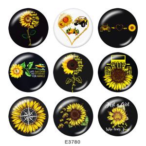 Botones a presión de vidrio con estampado de girasol de 20 mm