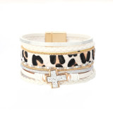 Leopard print chain diamond ladies watch with magnetic buckle cross wide edge accessories jewelry