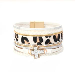 Reloj de mujer con diamantes de cadena con estampado de leopardo con hebilla magnética accesorios de borde ancho cruzado joyería