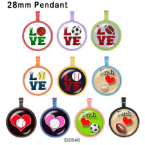 10pcs/lot Love sports glass picture printing products of various sizes  Fridge magnet cabochon