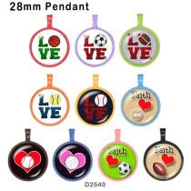 10 Stück / Lot Love Sport Glas Bilddruckprodukte in verschiedenen Größen Kühlschrank Magnet Cabochon