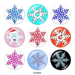 Botones a presión de vidrio con estampado de copo de nieve de 20 mm