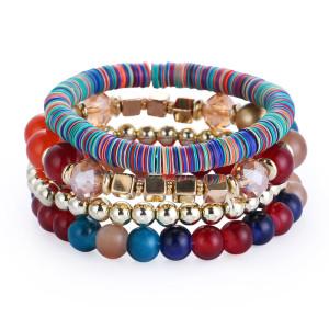 Mehrschichtiger Perlenarmbandring Kreatives Farbperlenarmband