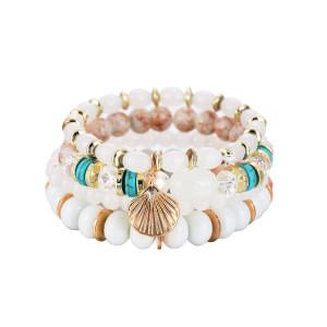 Böhmische elastische Seil Damen mehrere Perlen Jakobsmuschel Kristall Armband ethnischen Stil Armband