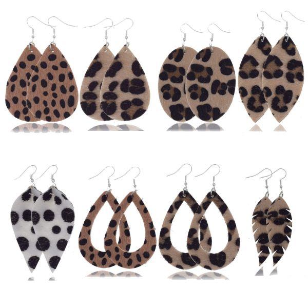 Leather earrings, leather earrings, horse fur earrings, leopard print leather earrings, drop-shaped earrings