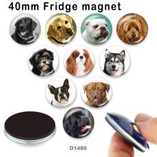 10 Stück / Lot Hundeglas Bilddruckprodukte in verschiedenen Größen Kühlschrank Magnet Cabochon