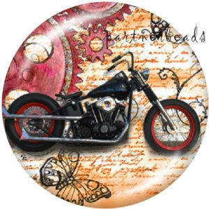 Botones a presión de vidrio con estampado de motocicleta y calavera de 20 mm