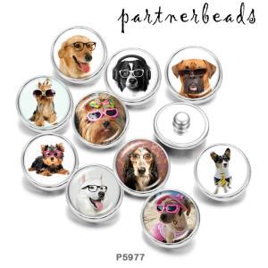 Стеклянные кнопки с принтом собаки и кошки 20 мм