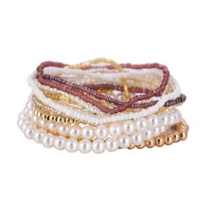 Multilayer Perlen Perlen elastischen Seil Schmuck Wildtemperament Armband