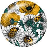 20MM  Flower  Butterfly   Print   glass  snaps buttons