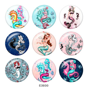 20MM Hippocampus Mermaid Print Druckknöpfe aus Glas