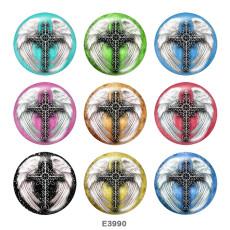 20MM  Cross   Print   glass  snaps buttons