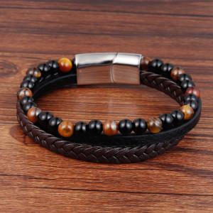 21CM Naturstein Vulkanstein Leder Armband Edelstahl Leder geflochtenes Armband