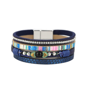 Mehrschichtiges Armband Geflochtenes Lederarmband mit eingelegtem Perlenarmband