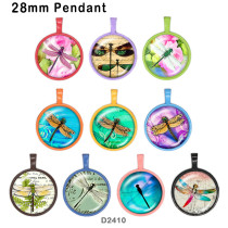 10pcs/lot dragonfly glass picture printing products of various sizes  Fridge magnet cabochon