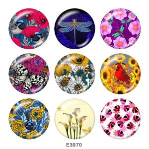 20MM Flower Butterfly Print Glasschnappknöpfe
