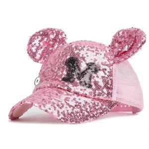 Sombrero con lentejuelas niños verano Mickey sombrero de malla verano sombrero para el sol protector solar ajuste 18 mm botón a presión beige