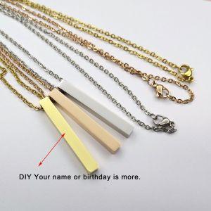 四角柱長方形シリンダーDIY四辺無料彫刻ネックレス付きのカスタマイズされたステンレス鋼ロングストリップネックレス