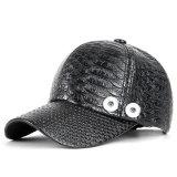 Crocodile Pattern PU Hat Dad Hat fit 18mm snap button beige