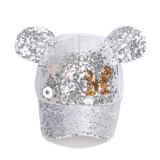 Paillettenhut Kinder Sommer Mickey Mesh Hut Sommer Sonnenhut Sonnenschutz passen 18mm Druckknopf beige