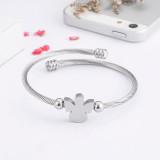 Stainless steel angel zircon bracelet