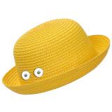 Straw sunhat, beach hat, children fit 18mm snap button beige