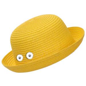 Соломенная шляпа от солнца, пляжная шляпа, детская подходит на кнопке 18 мм, бежевый