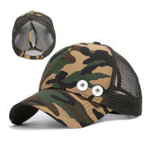 Pferdeschwanz Camouflage Baseball Cap Summer Sun Hat Sonnenschutz Passform 18mm Druckknopf beige