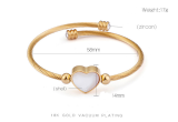 Stainless steel heart-shaped shell bracelet steel wire braided bracelet