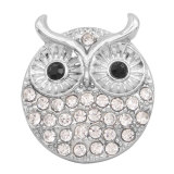 20MM hibou métal argenté pression avec breloques en strass snaps bijoux