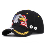 Eagle embroidery baseball cap USA summer sunscreen fit 18mm snap button beige