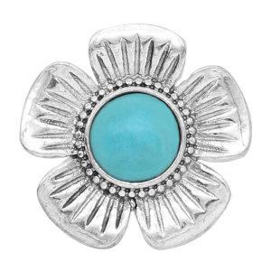 20MM Flower Snap Silber Mit türkisfarbenem Druckknopf überzogen