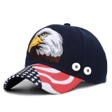 Gorra de béisbol con bordado de águila EE. UU. Protector solar de verano con botón a presión de 18 mm beige